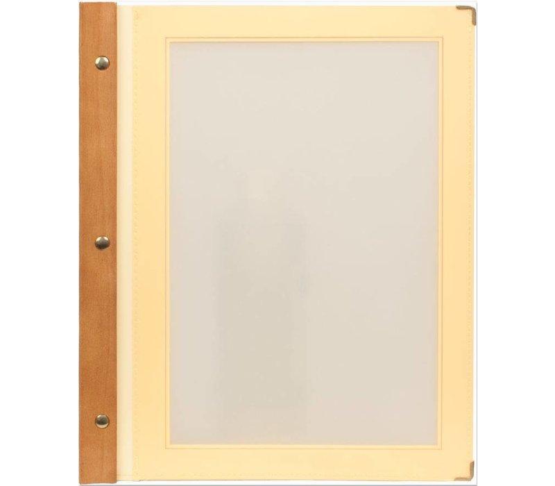 Securit Ivory menu folder - Wood A4