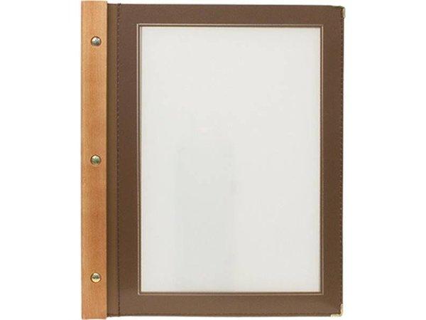 Securit Menu folder Brown - Wood A4