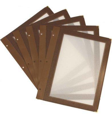 Securit Inserts WOOD Menu - brown A5 - 5 pieces