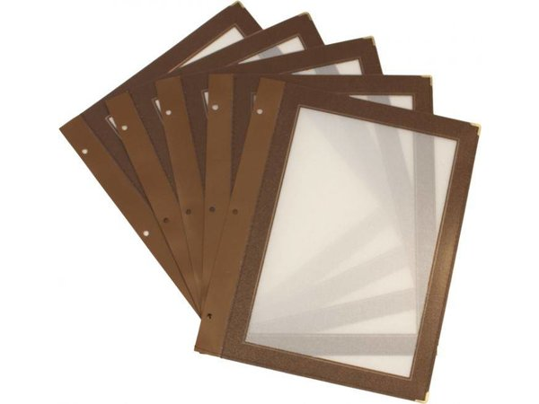 Securit Inserts WOOD Menu - brown A5 - 5 pieces