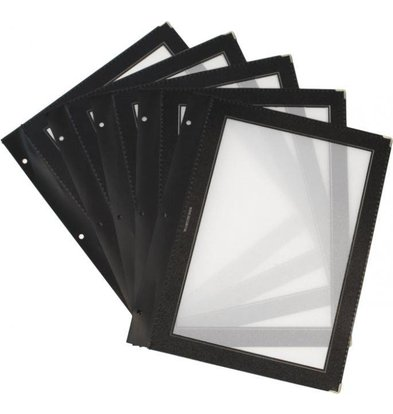 Securit Inserts WOOD Menu - Black A4 - 5 pieces