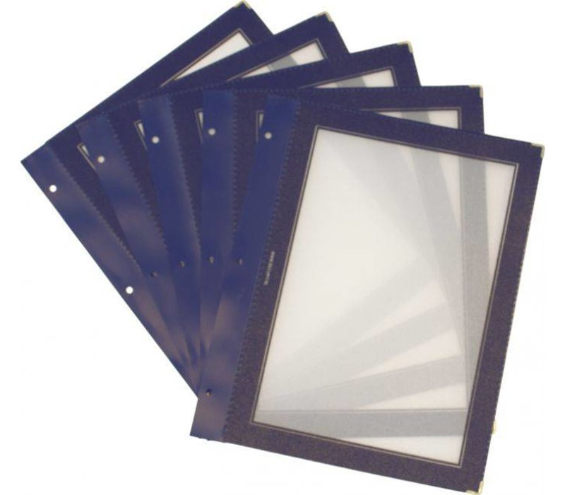 Securit Inserts for WOOD Menu - Blue A4 - 5 pieces