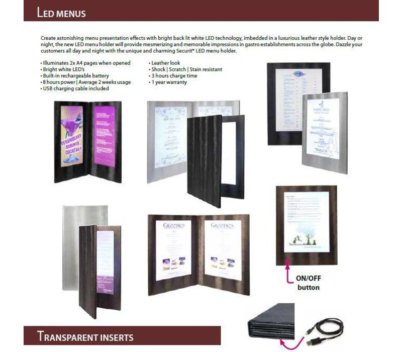 Securit Inserts LED Menu - Inkjet - Per 20 pieces