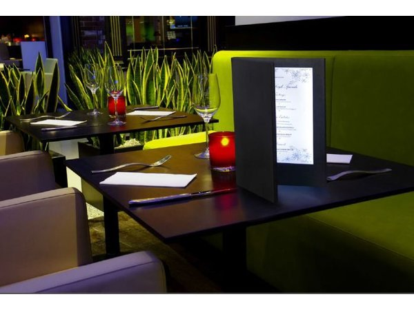 Securit Menu with LED lighting - DOUBLE A4 - Silver