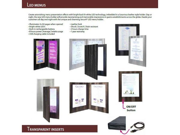 Securit Menu with LED lighting - DOUBLE A4 - Copper