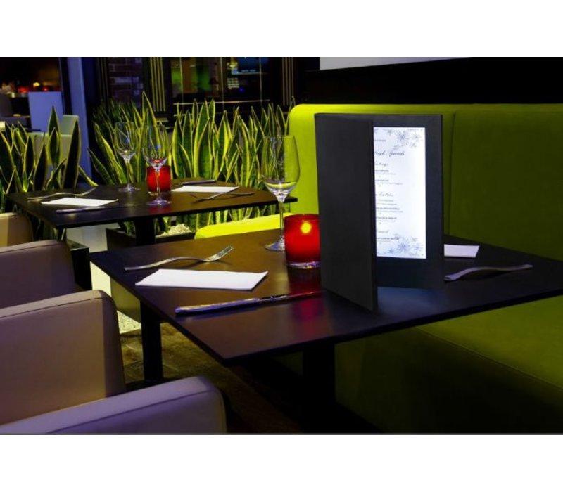 Securit Menü mit LED-Beleuchtung - DOPPEL A4 - Schwarz