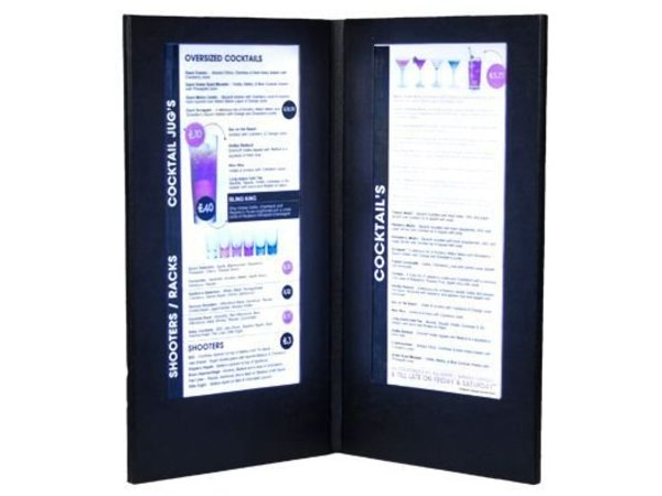 Securit Menu with LED lighting - DOUBLE LONG - Black