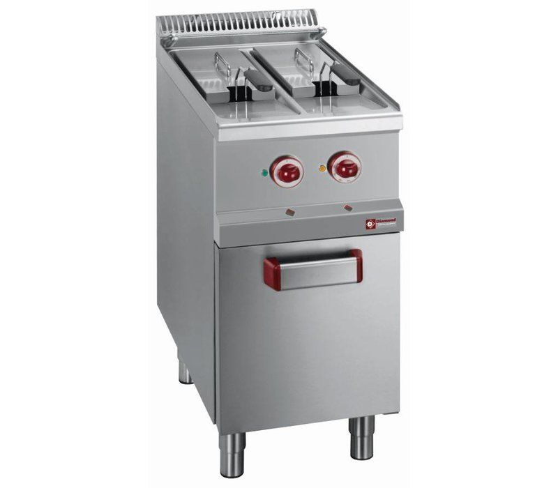 Diamond Fritteuse | Elektrizität | 2 x 7 Liter | 400-230V | 10,5 kW | Fahrwerk | 400x700x (h) 850-920
