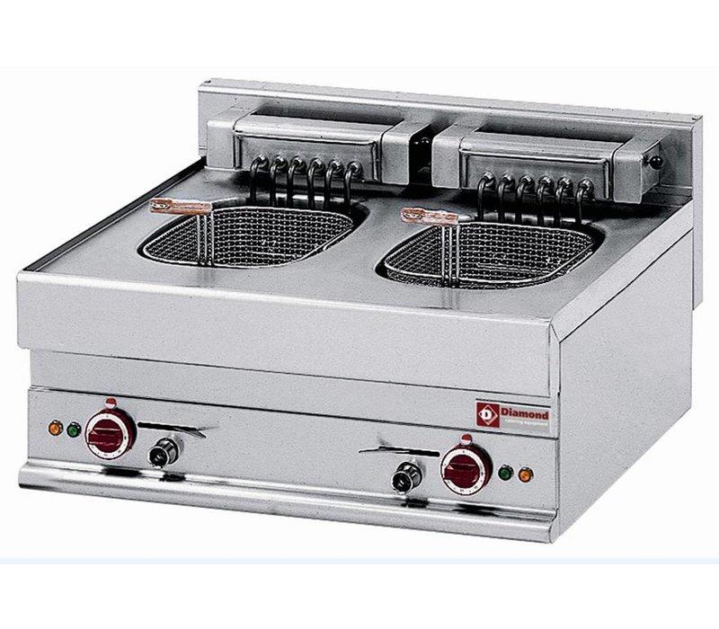 Diamond Fryer Electric Double SS | 10 Liter | Tabletop | 400V | 15kW | 700x650x (H) 280 / 380mm