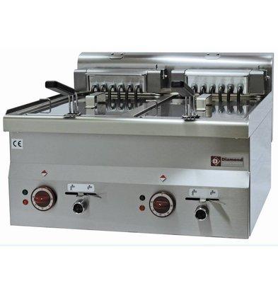 Diamond Friteuse Elektrisch Dubbel RVS | 10 Liter | Tafelmodel | 400V | 15kW | 600x600x(H)280/400mm