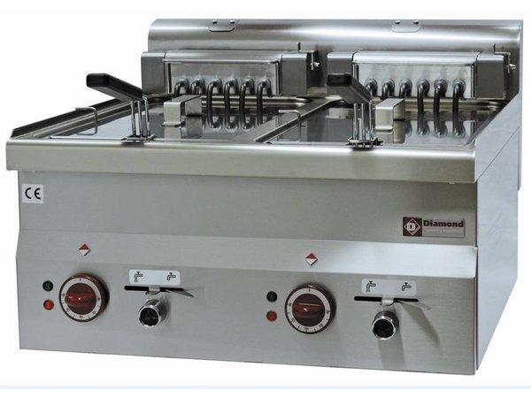 Diamond Fryer Ladungsdoppel SS | 10 Liter | Tischplatte | 400V | 15kW | 600x600x (H) 280 / 400mm