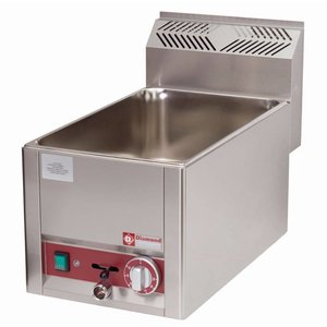 Diamond Bain Marie | Stainless steel | 1/1 GN | Drain valve | Tabletop Stamped