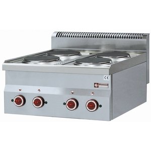 Diamond Electric stove 4 Burners Tabletop | Stainless steel | 2 x 230 | 2 kw | Ø 180 mm