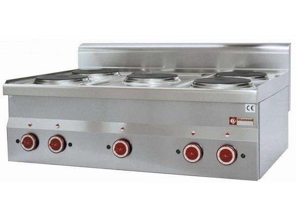 Diamond Elektro-Kaminofen | Edelstahl | 2 kw | 5 Pits | Tischplatte | 400V - Ø 180 mm