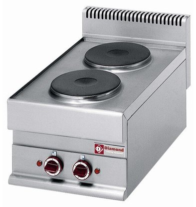 Diamond Electric stove | Stainless steel | 2.4 Kw | 2 Pits 220 mm | Tabletop 400V