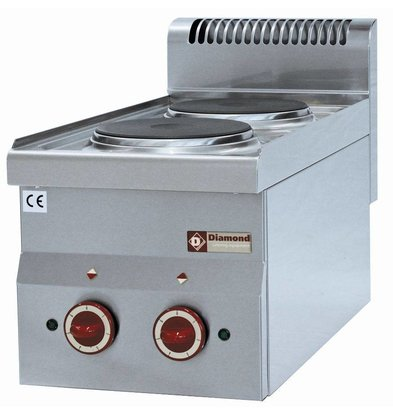 Diamond Electric stove | 2 Pits 180 mm | Tabletop 230V | 2x 2 kW