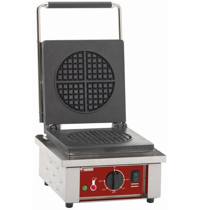 Diamond Waffle Iron Round - with Perimeter Frame - 305x40x (h) 230mm - 1.6KW