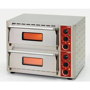 Diamond Pizza Oven Dubbel Elektrisch   RVS   Pizza Ø43cm   670x580x(H)500mm