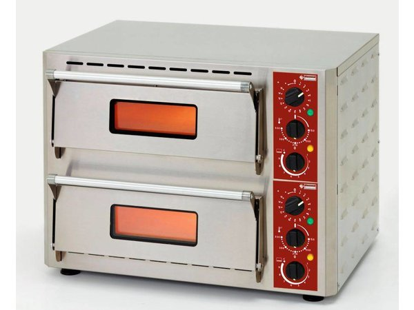 Diamond Pizza Oven Dubbel Elektrisch | RVS | Pizza Ø43cm | 670x580x(H)500mm