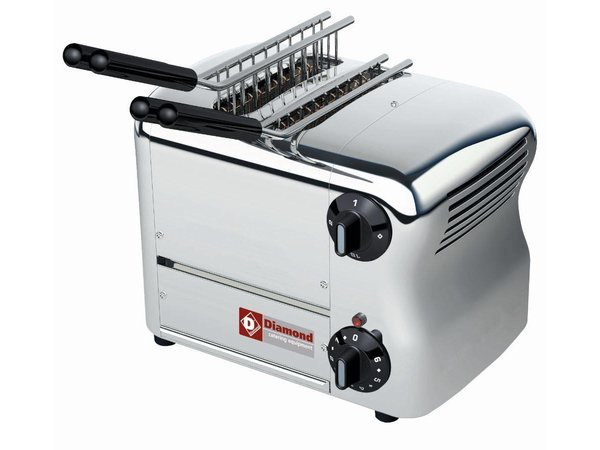 Diamond Sandwichtoaster zwei Zapfen | Silver - Timer mit akustischem Alarm - 31,7x22x (H) 21cm - 1000W