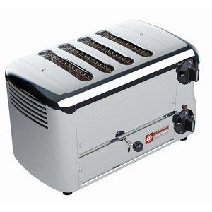 Diamond 4 Sneden Toaster Professioneel   Zilver - timer met hoorbaar alarm - 36x22x(H)21cm - 2300W