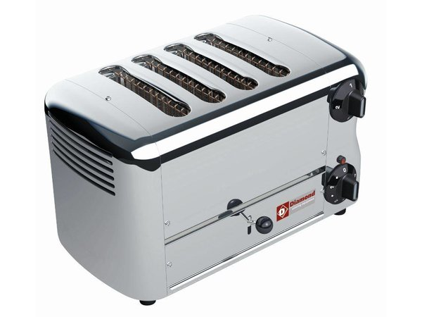 Diamond 4 Cuts Toaster Professional | Silver - timer with audible alarm - 36x22x (H) 21cm - 2300W