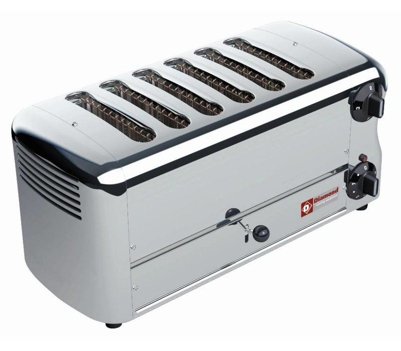Diamond 6 Cuts Toaster Professional | Silver - timer with audible alarm - 45,5x22x (H) 21cm - 3300W