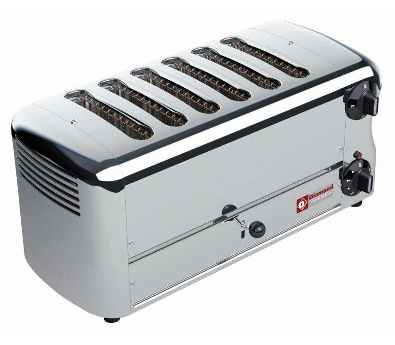Diamond 6 Sneden Toaster Professioneel | Zilver - timer met hoorbaar alarm - 45,5x22x(H)21cm - 3300W