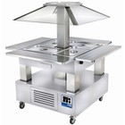 Diamond Bain Marie Island - Buffet Refrigerated Display - 4 x 1/1 GN White Wood