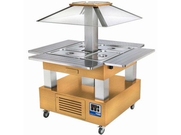 Diamond Salad Bar / Buffet Island Refrigerated Display - 4 x 1/1 GN Light Wood