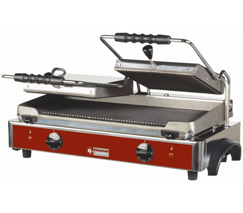 Diamond Contact Grill Panini Double | Ribbed plates | 620x435x (H) 240mm | 3,6 Kw