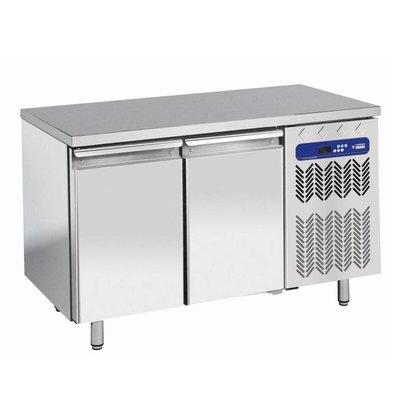 Diamond Freeze Workbench Stainless Steel - 2 door - 260 liters | Temperature: -10 ° / -20 ° C | 136x70x (h) 88 / 90cm