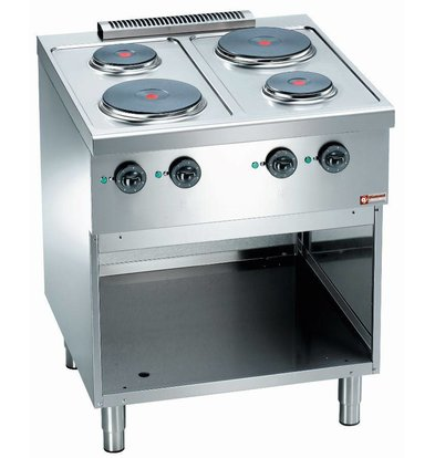 Diamond Electric stove 4 Burners | with Open Frame | 2.8 kW | Stainless steel | 230 / 400V | 700x700x (H) 850 mm