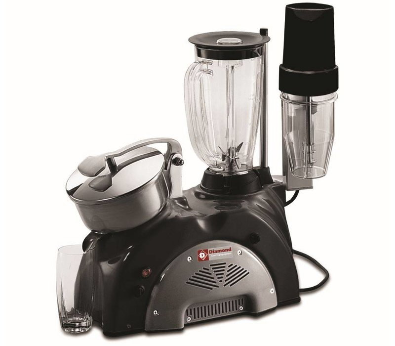 Diamond Combi Fruitpers Mixer - 1,5 Liter - Inc. Bar Blender - Zwart/Grijs