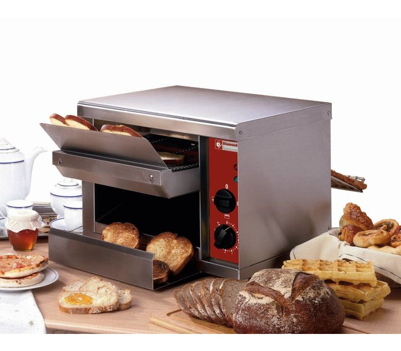 Diamond Go through Toaster 540 per hour - two heating elements - 45x53x (H) 34,5cm - 2300W