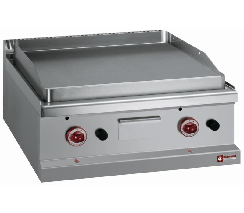 Diamond Gas griddle - Cast iron - Full Flat - container size 70x70x (H) 25/32 cm