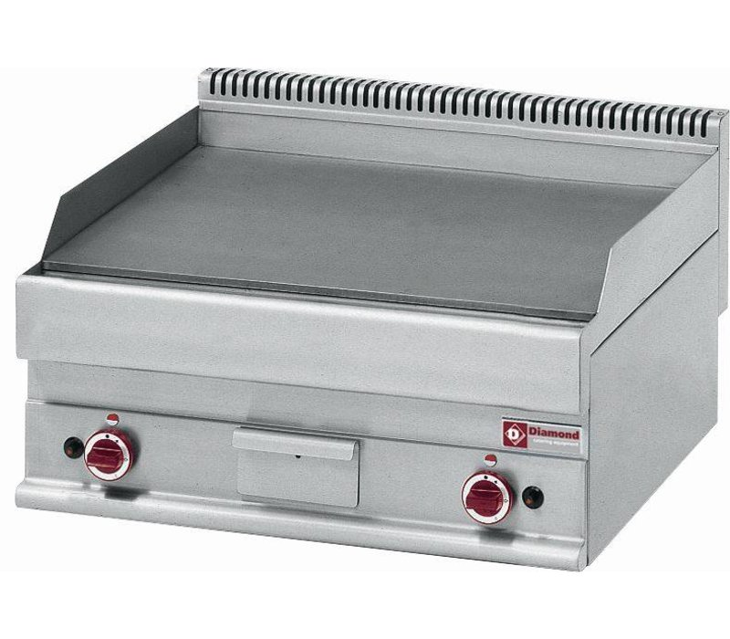 Diamond Gas griddle - smooth - 70x65x (h) 28 / 38cm