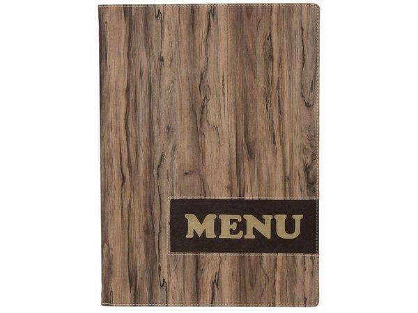 Securit * NEW * Design menu folder - Wood A4