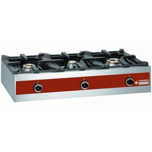 Diamond 3 Burners gas burner | tabletop | 7.2 + 5.5 + 3.2 Kw | 1000x480x (H) 260mm