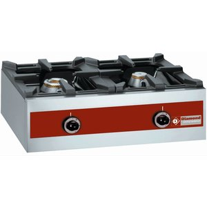 Diamond Gas burner 2 burners   tabletop   5.5 kW + 3,2KW   720x480x (H) 260mm