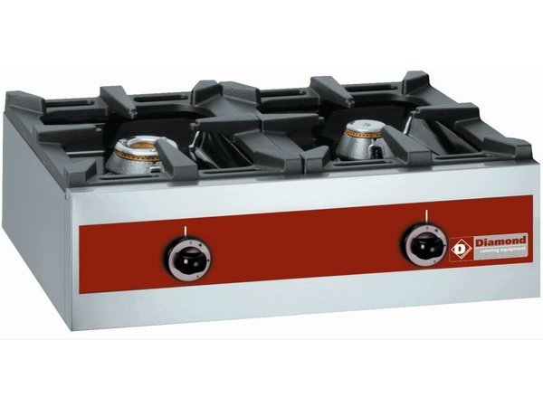 Diamond Gasbrenner 2 Brenner | Tischplatte | 5,5 kW + 3,2KW | 720x480x (H) 260mm