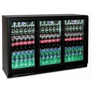 Diamond Flaschenkühler + 3 Selbstschluss-Glas-Schiebe - 380 Dosen - 320 Liter - 1335 (b) x520 (d) X900 (H) mm