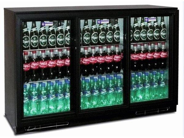 Diamond Bottle cooler + 3 Self-closing Sliding Glass - 380 cans - 320 liters - 1335 (b) x520 (d) X900 (H) mm