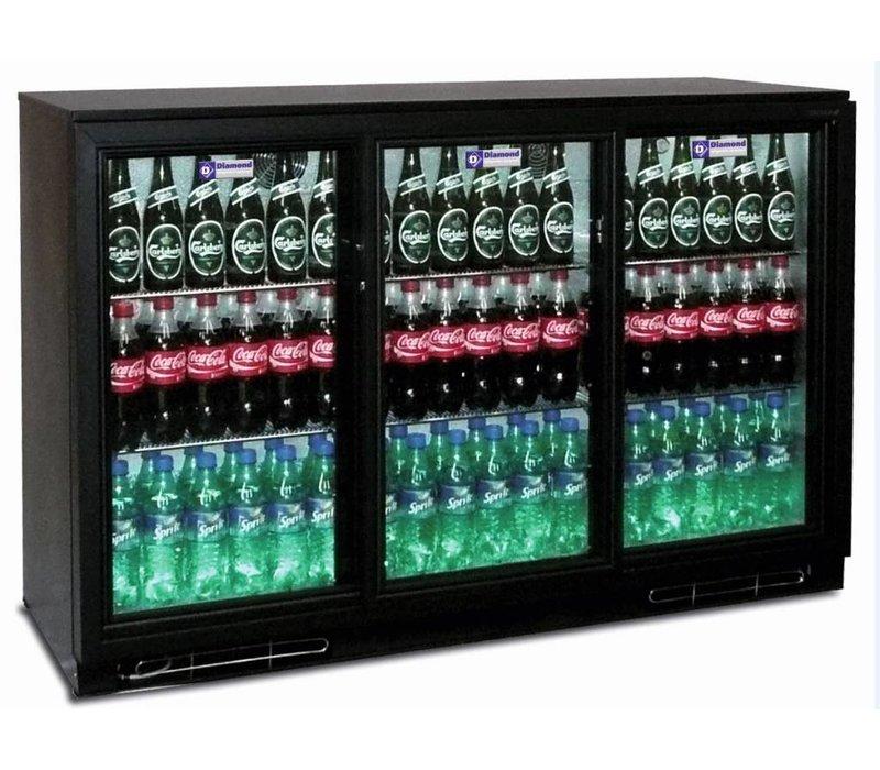Diamond Flessenkoeler + 3 Zelfsluitende Schuifdeuren van Glas - 380 Blikjes - 320 liter - 1335(b)x520(d)x900(h)mm