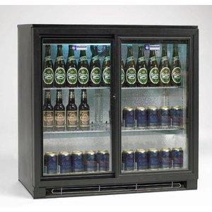 Diamond Flaschenkühler 2 selbstschließende Schiebetüren - Schwarz 218 Dosen - 196 Liter - 900 (b) x520 (d) X900 (H) mm
