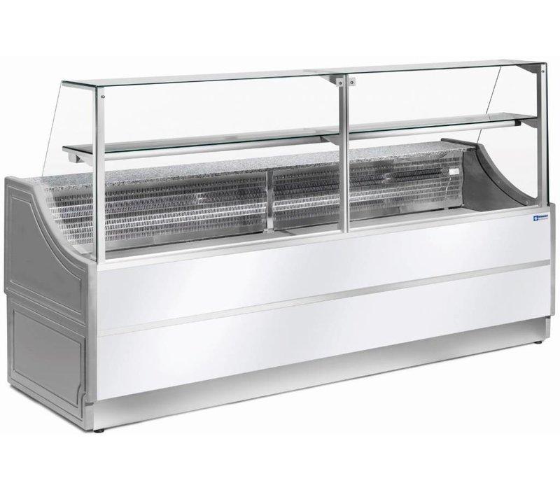Diamond Vitrine Toonbank | Werkblad in graniet | Gekoeld +4° / +6 | °Rechtruit | 1500x750x(H)1350 mm