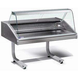 Diamond Vitrine Toonbank Gekoeld | Werkblad in RVS | Vis | Temperatuur 0° / 2° | 1500x980x(H)1280mm