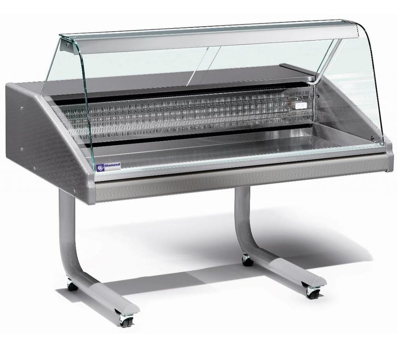 Diamond Counter Refrigerated display case | Worktop in stainless steel | Fish | Temperature 0 ° / 2 ° | 1500x980x (H) 1280mm
