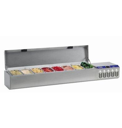 Diamond Showcase Design gekühlt - 8x oder 4x 1/4 GN 1/2 GN - Deckel aus Edelstahl - 175,5x32,4x38,5 / 51,5 cm