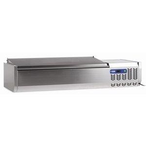 Diamond Aufbau Display - gekühlt - 7x 1/4 GN - SS Cover - 160x34xh26 / 58 cm